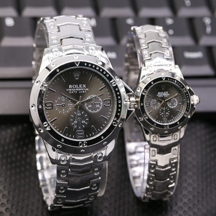 TERLARISSS!!! - Jam Tangan Rolex Couple Murah SK820 Rantai Silver Black