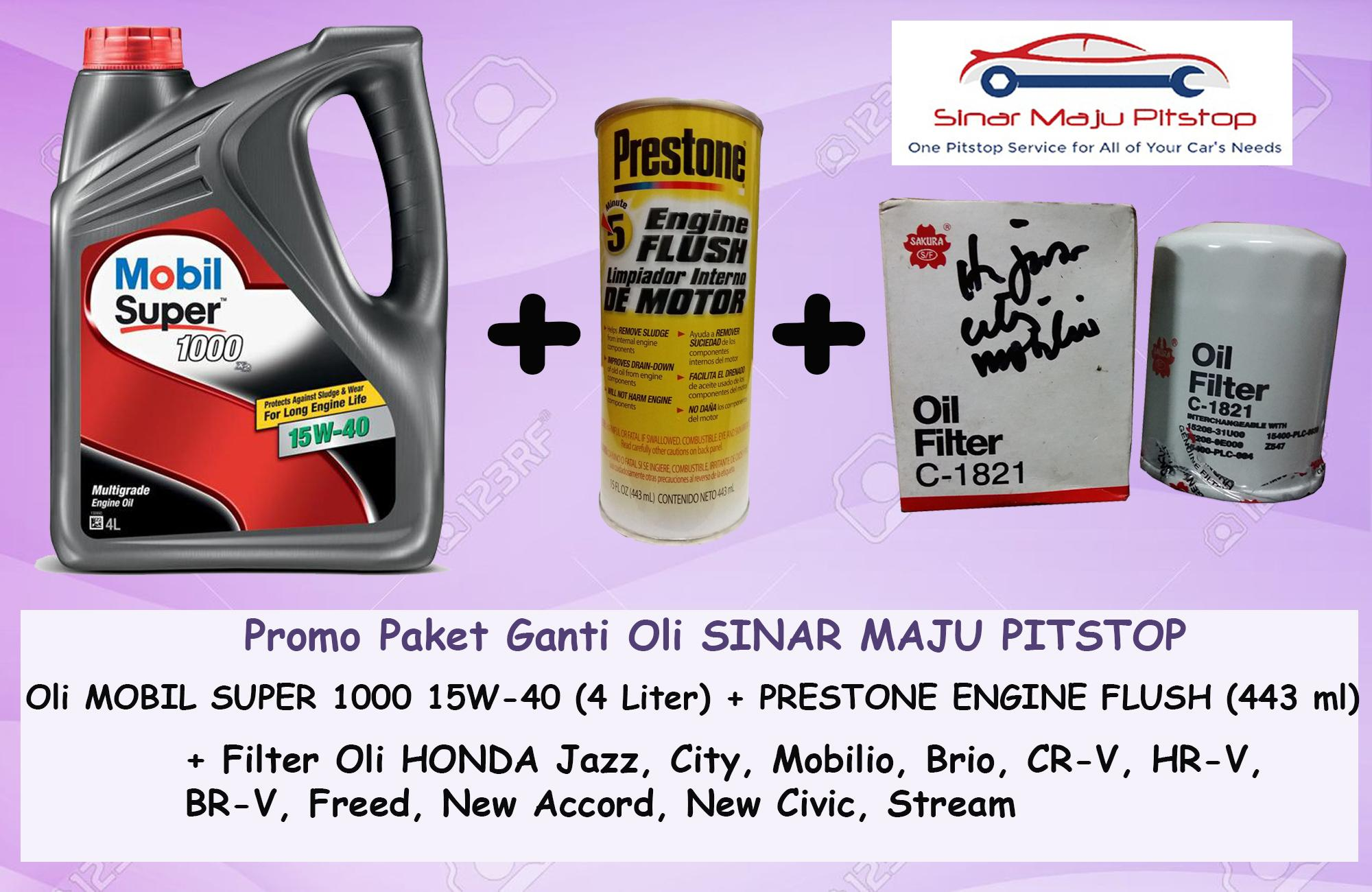 Promo Paket Ganti Oli MOBIL SUPER 1000 15W-40 API SN 4 LITER & Prestone Engine Flush & Filter Oli HONDA ALL NEW JAZZ RS Original