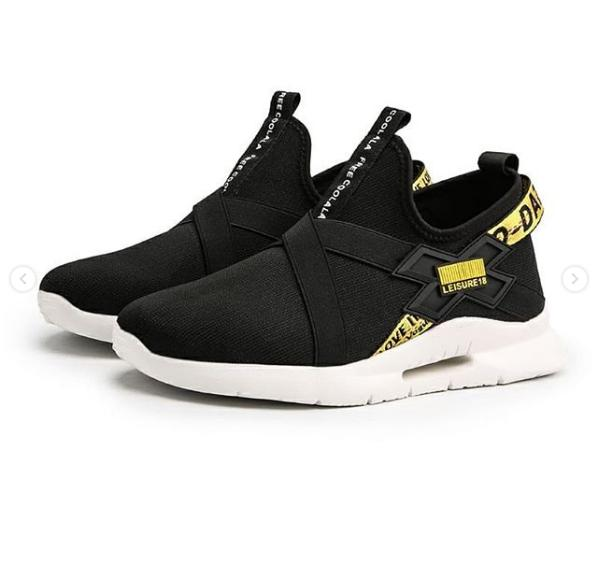 J. XF Fan Japan Black Kombi Yellow - Sepatu Selop - Sepatu Slip on -