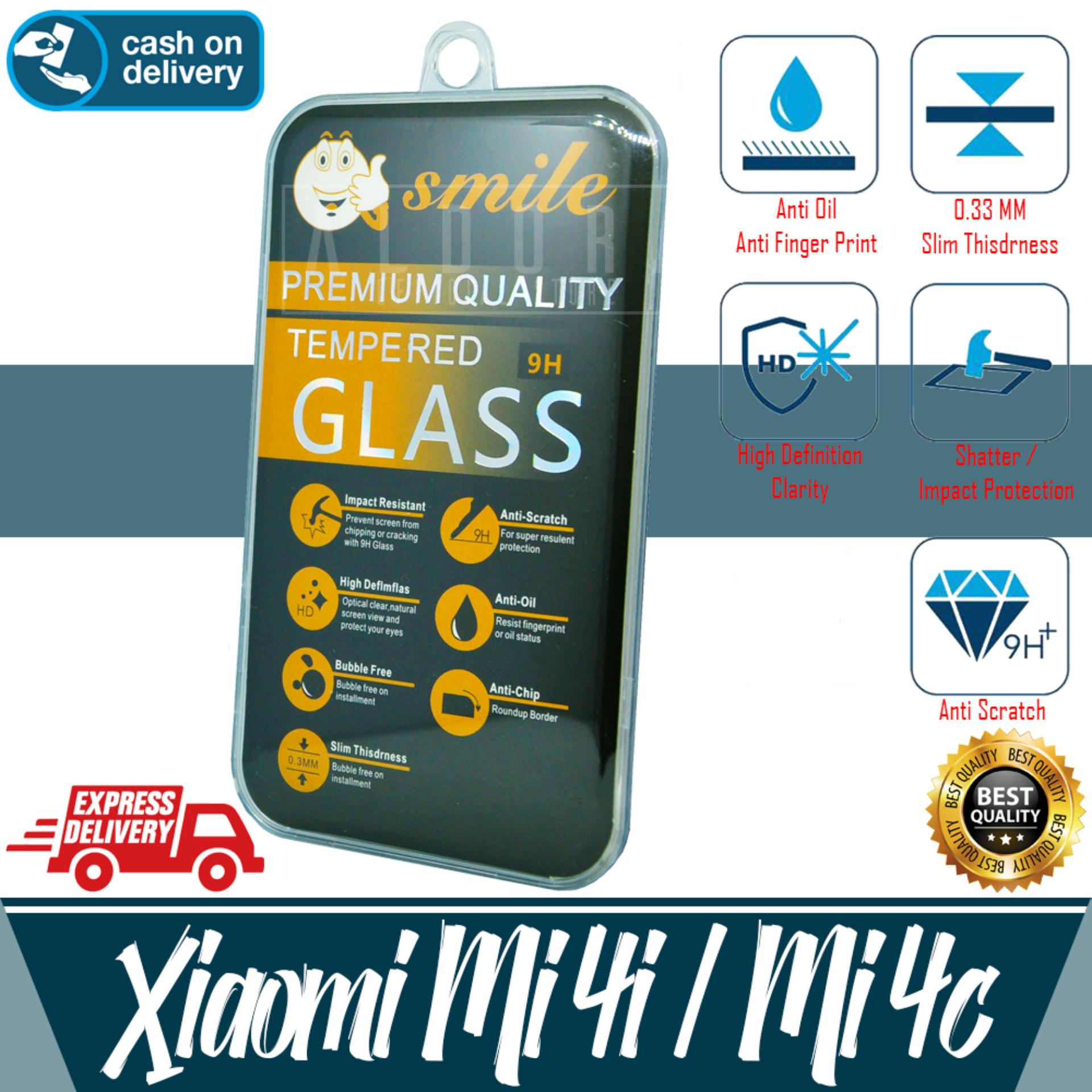 Aldora Tempered Glass Anti Gores Kaca Pelindung Layar Smile Series For Xiaomi Mi4i / Mi4C