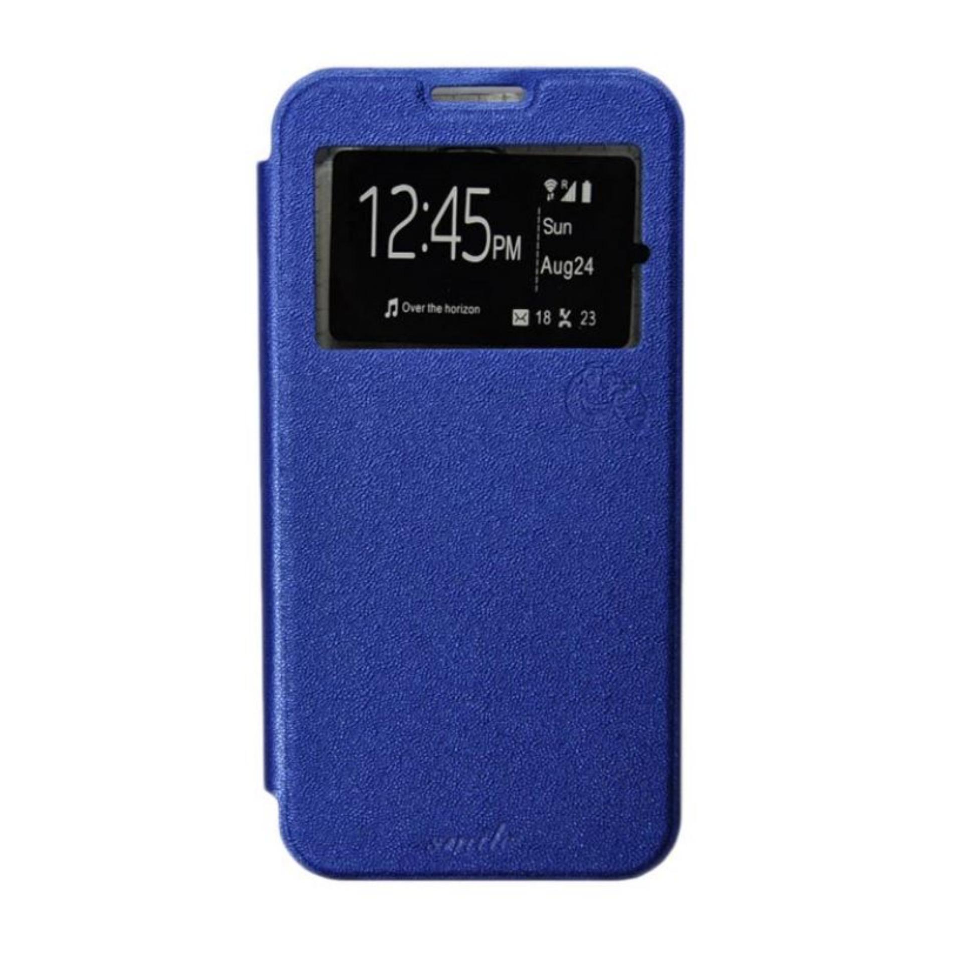 Aldora Case For Infinix X600 / Note 2 Flip Cover Case Dengan Pelindung Layar Smile Series - Blue Na