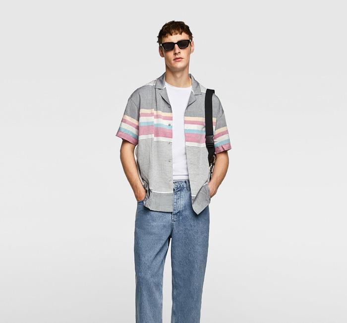 Kemeja Printed Pantai Zara Man Original Not Uniqlo Topman Mango Gap