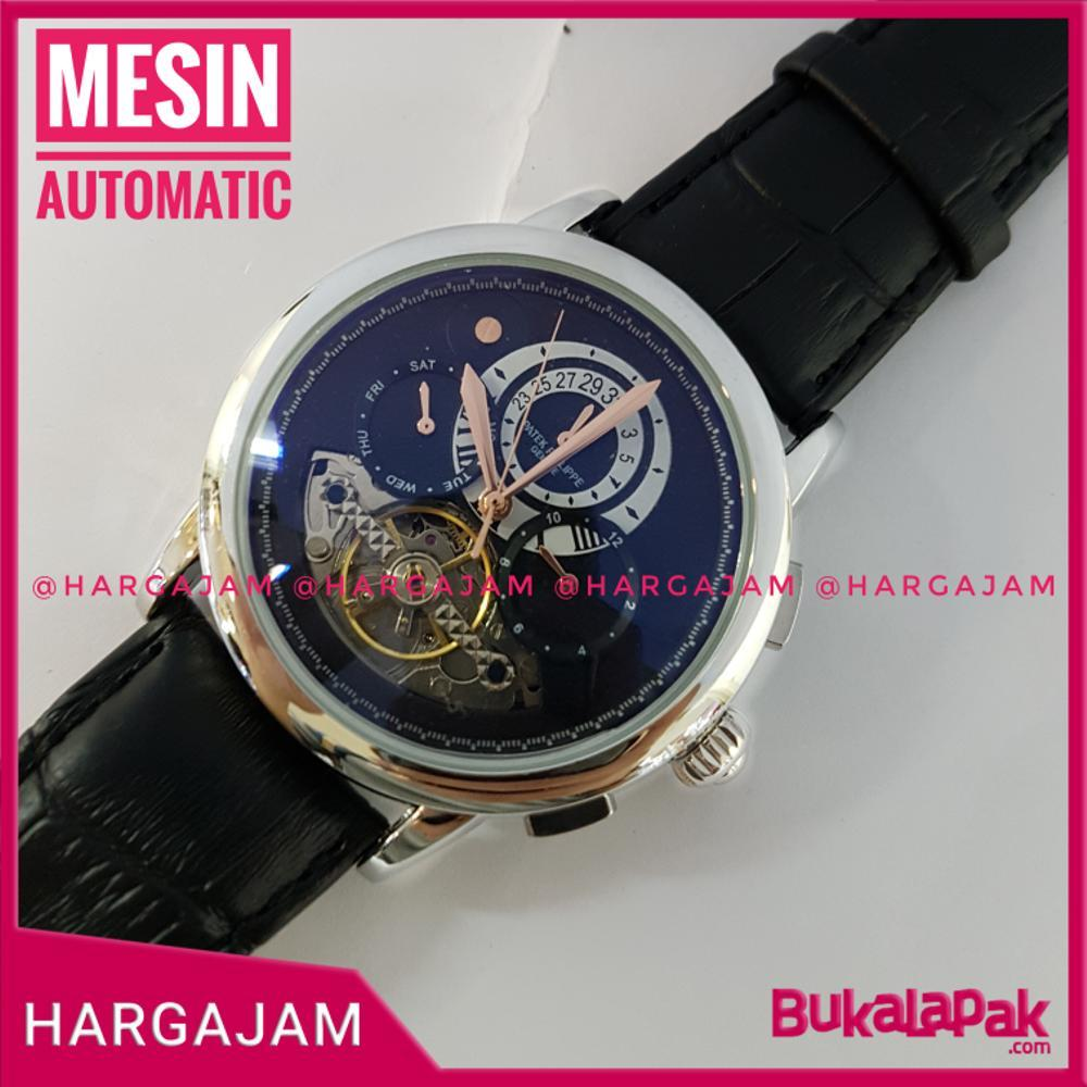 Jam Automatic Patek Philippe PP2147 Super Chrono Strap Leather Black Kulit Hitam Bezel Silver