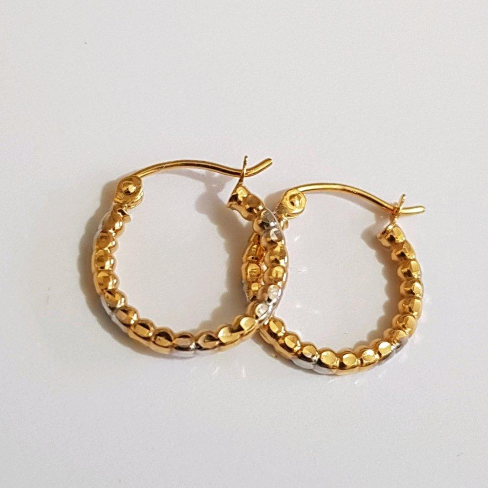 Small Anting Emas Asli Kadar 700 Anting Hoop Candy 2 Tone / Perhiasan Emas Remaja / Gold Earring / Anting-anting 17 karat