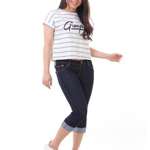 JSK Celana pendek wanita jeans model kaki lipat balik JUMBOSIZE