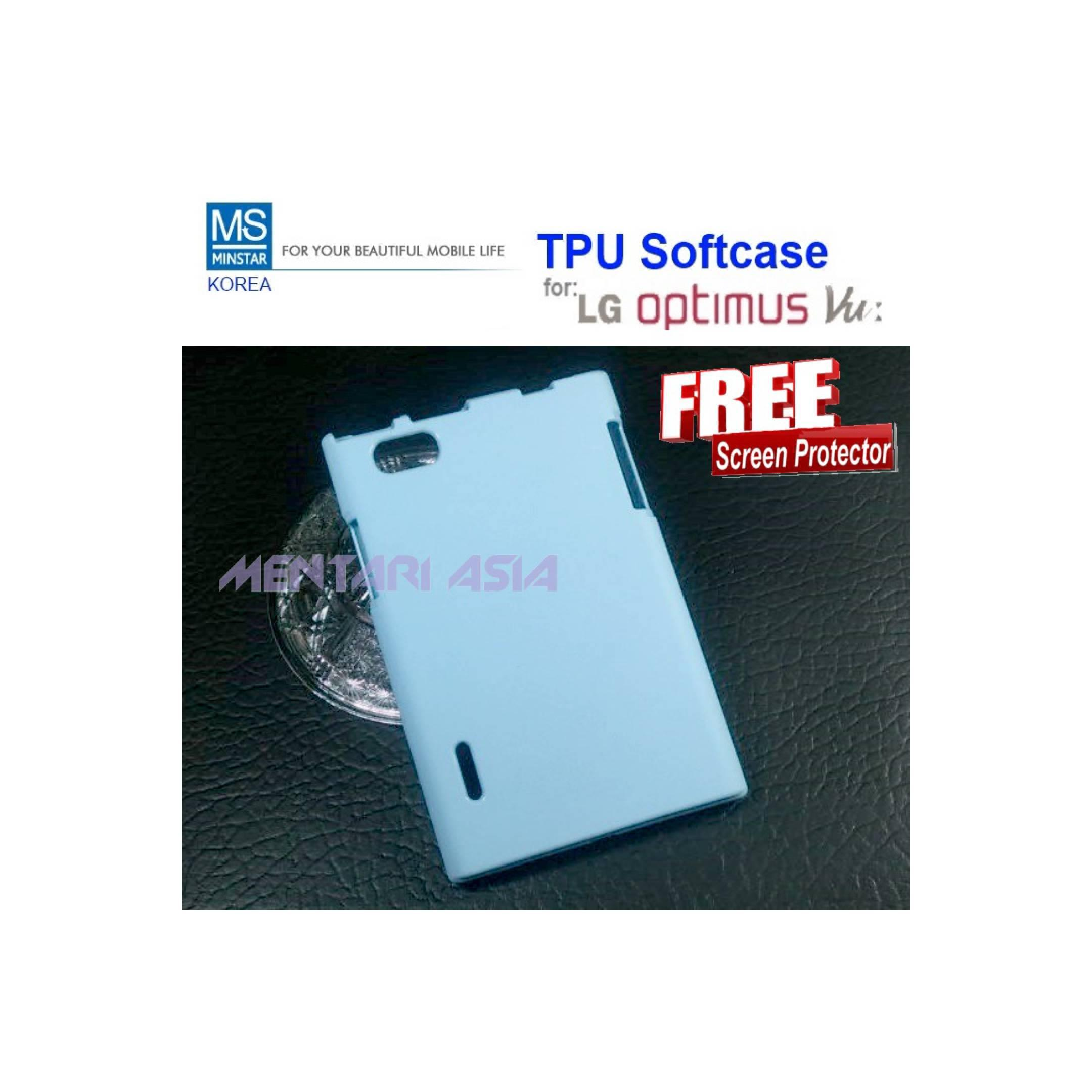 LG Optimus Vu P895 : MINSTAR Korea TPU Softcase FREE SP (BLUE)