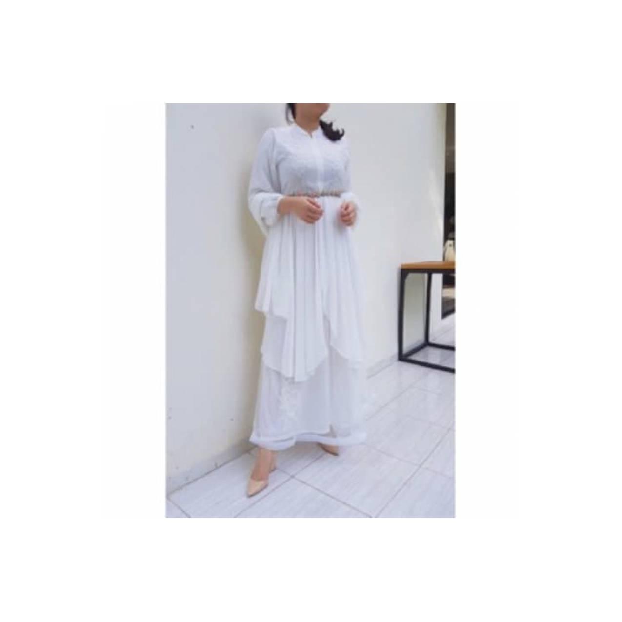 citra shop fashion Gamis muslim putih mewah cantik / gamis rubiah / ga