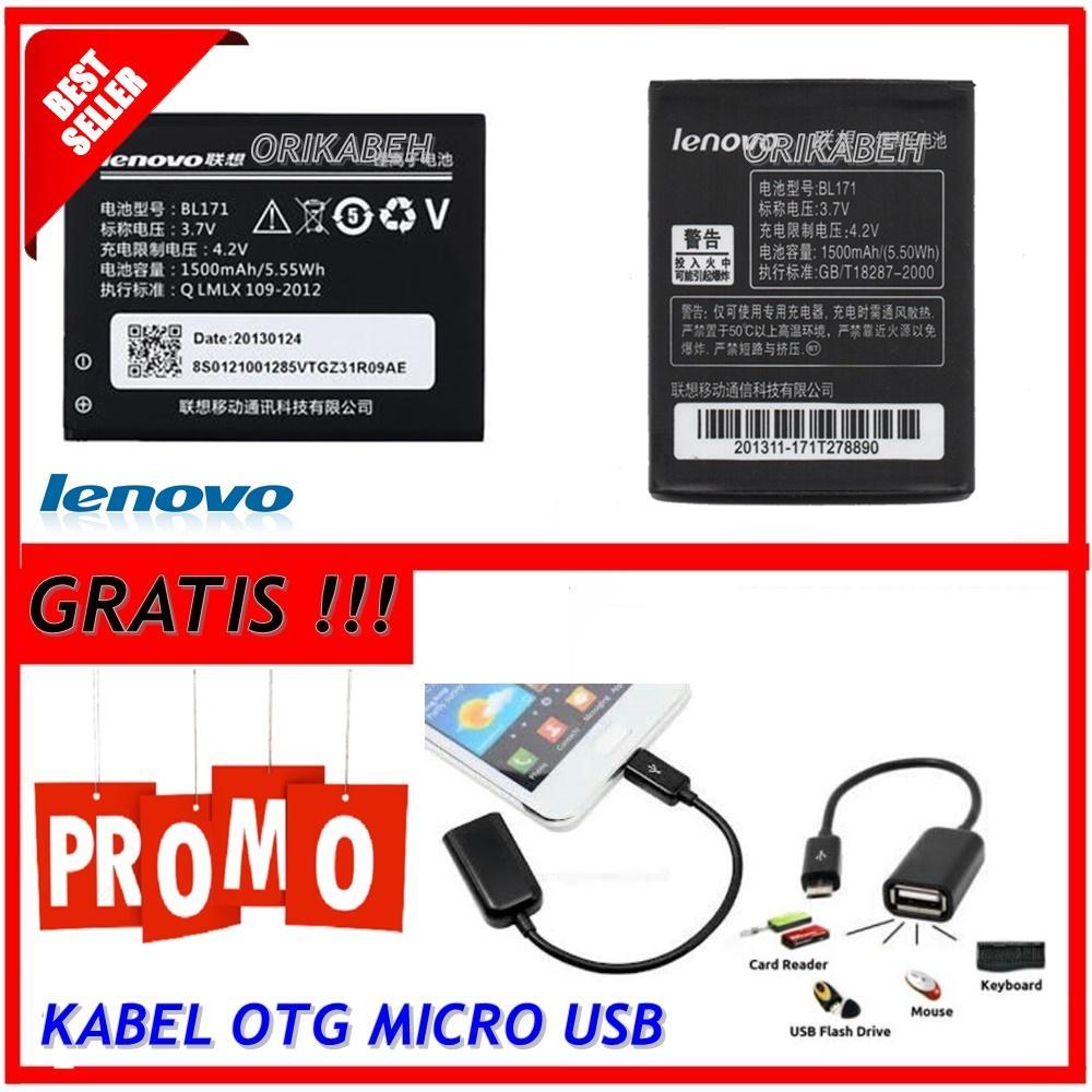 Lenovo Baterai / Battery BL171 For Lenovo A390 / A60 Original - Kapasitas 1500mAh + Gratis Kabel Otg Micro Usb  ( orikabeh )