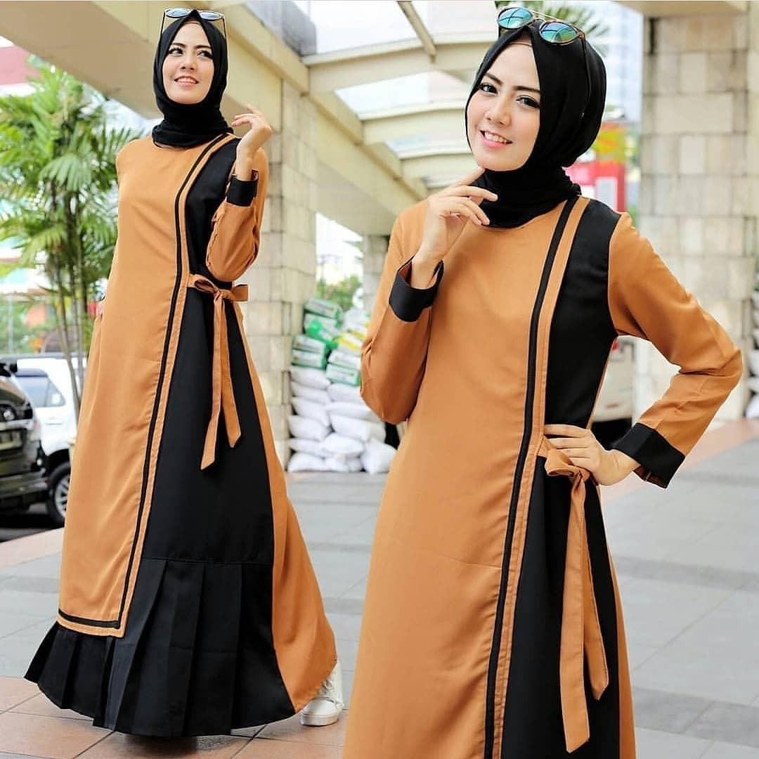 Baju Muslim Original Gamis Sherli Dress Baloteli Baju Panjang Muslim Casual Wanita Pakaian Hijab Modern Modis Trendy Terbaru 2018