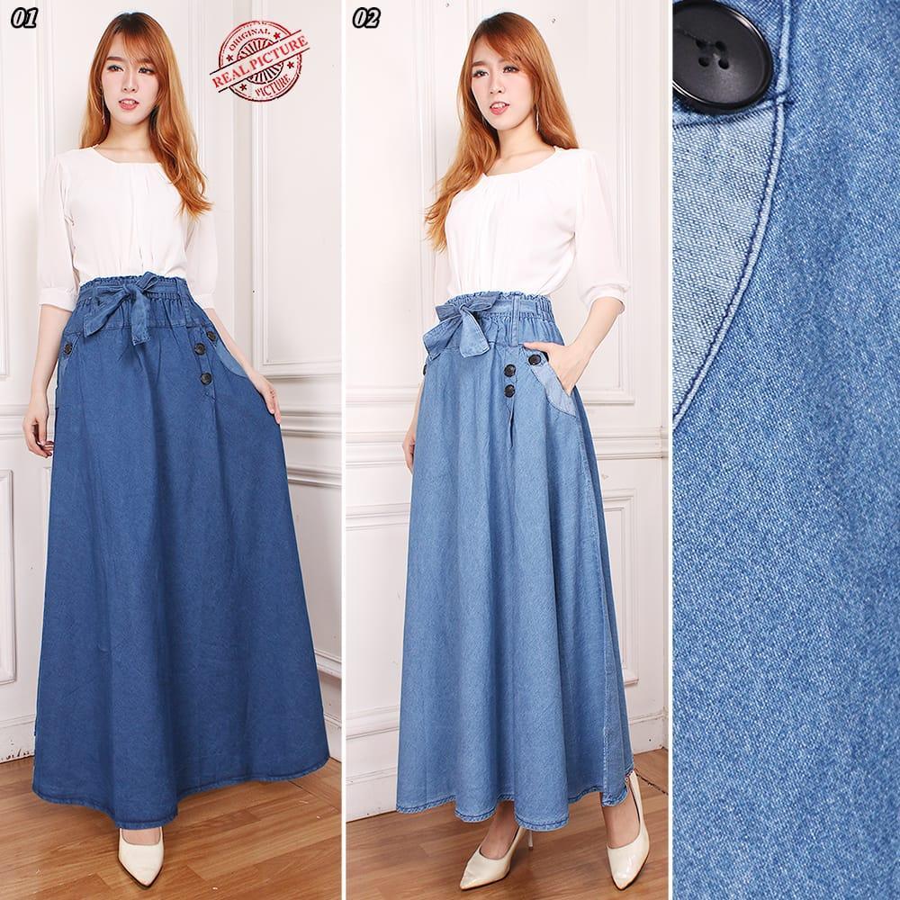 Shining Collection Rok Wanita Layna Rok Panjang Jeans Wanita