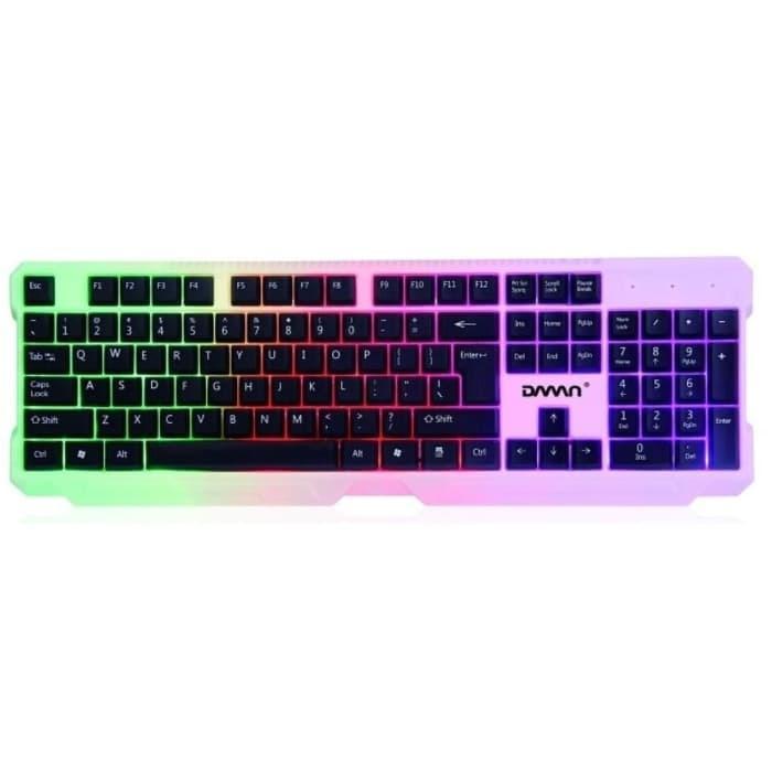 Keyboard Gaming Kabel USB DWN DK 7 Lampu LED Murah Promo TERMURAH