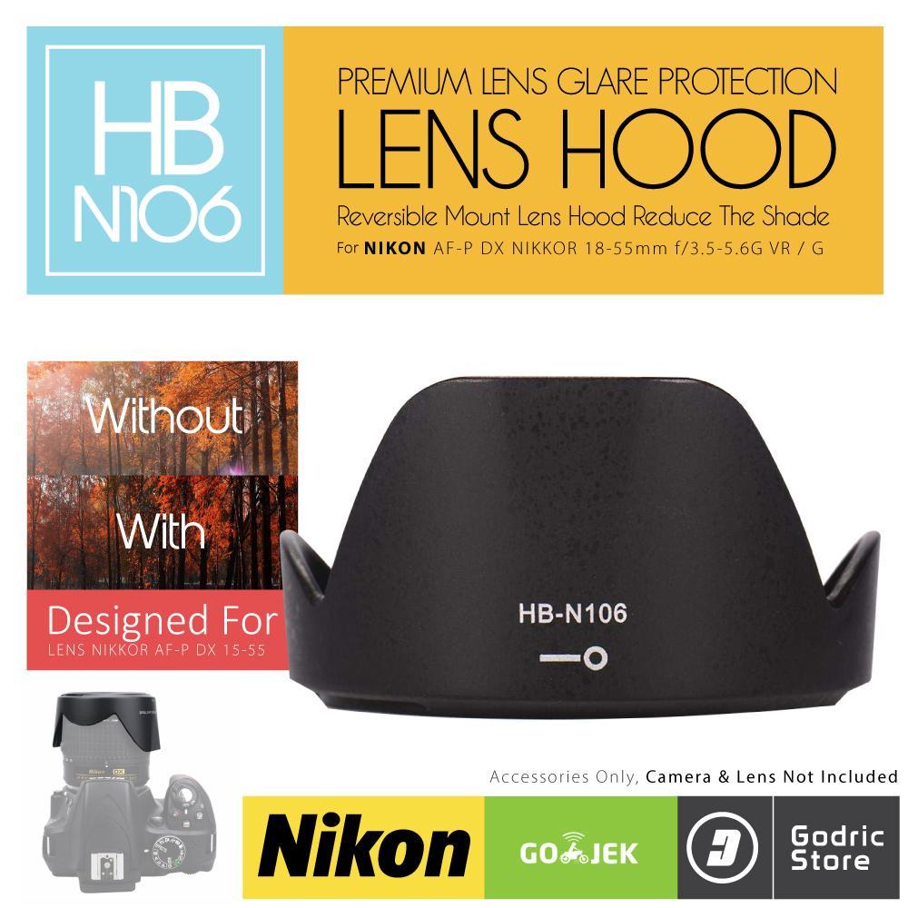 Jual Lensa Kamera Nikon Terbaik D3300 Kit 18 55mm Vr Hitam Lens Hood Hb N106 For Af P Dx Nikkor F