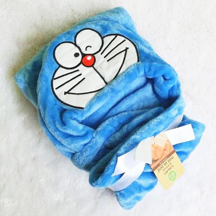 Selimut Topi Double Fleece Selimut Hoodie Bulu Bayi 3D Hoodie Blanket Tudung - Cat White Red