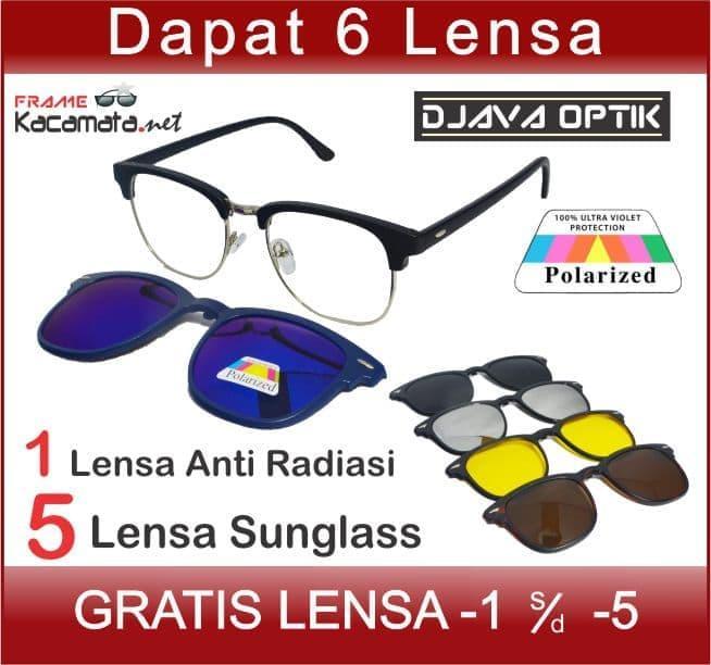 DISKON Frame Kacamata Minus Clip On 5 Lensa Sunglass Hitam Pria Polarized TERMURAH
