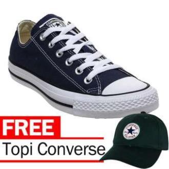 Sepatu Sneakers All Star ( BLUE NAVY )Pria Wanita Casual Basic Polos + Free Topi Baseball All Star