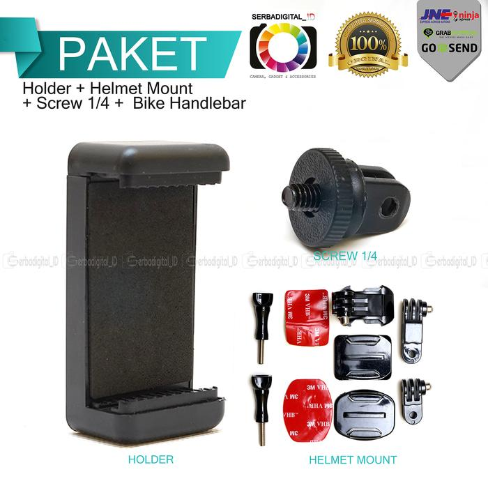 Ready! Moto Vlog Helmet Mount Set 3M For AndroidU002Fios Smart Phone - ready stock
