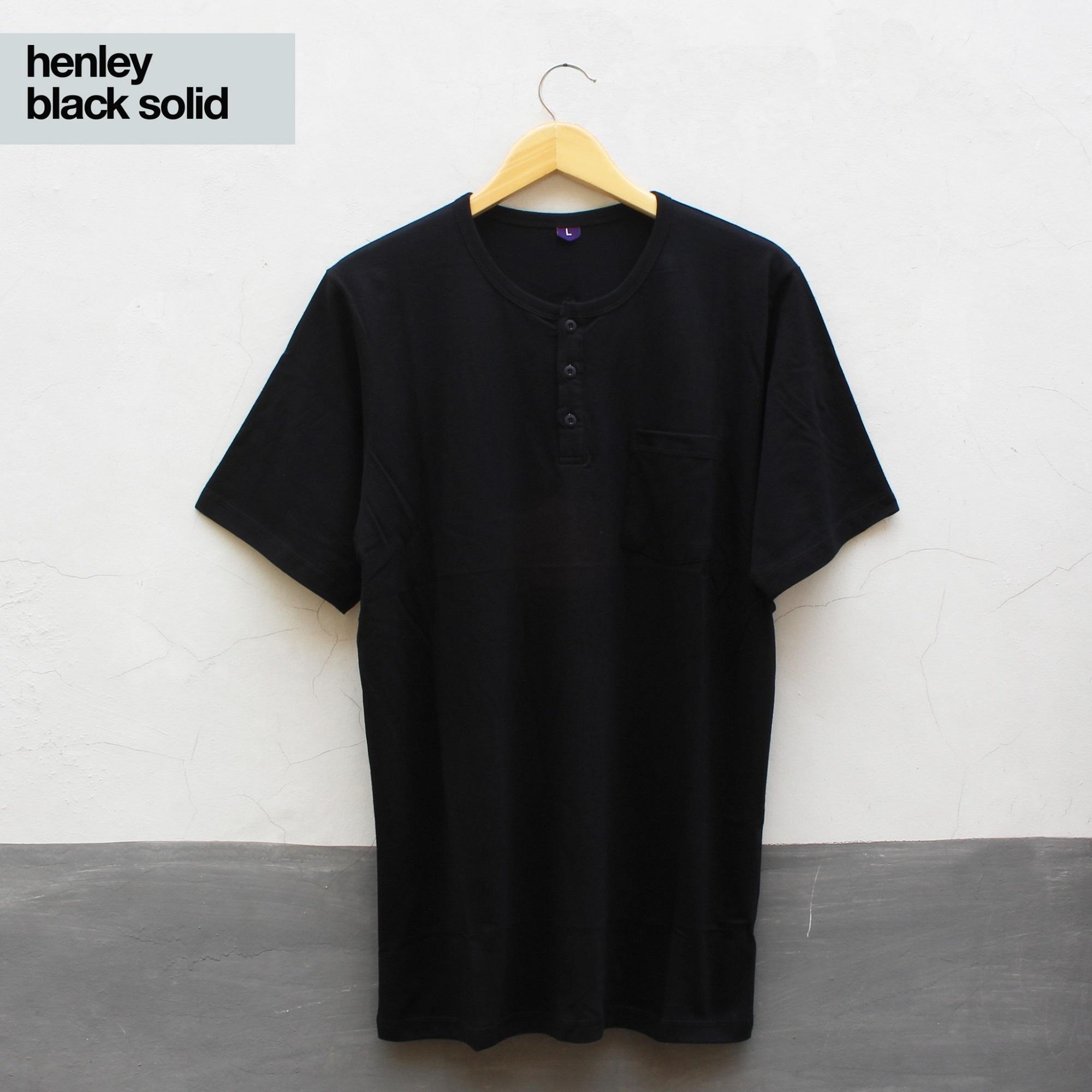 Jual Baju Kaos Polos Fashion Pria Dan Wanita Modern Baju Henley Lengan Pendek Warna Black Solid