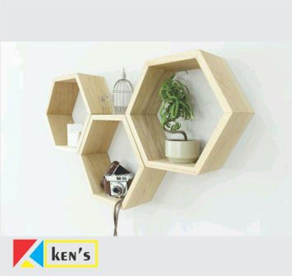rak dinding rak gantung rak kayu rak dekorasi rak hexagonal