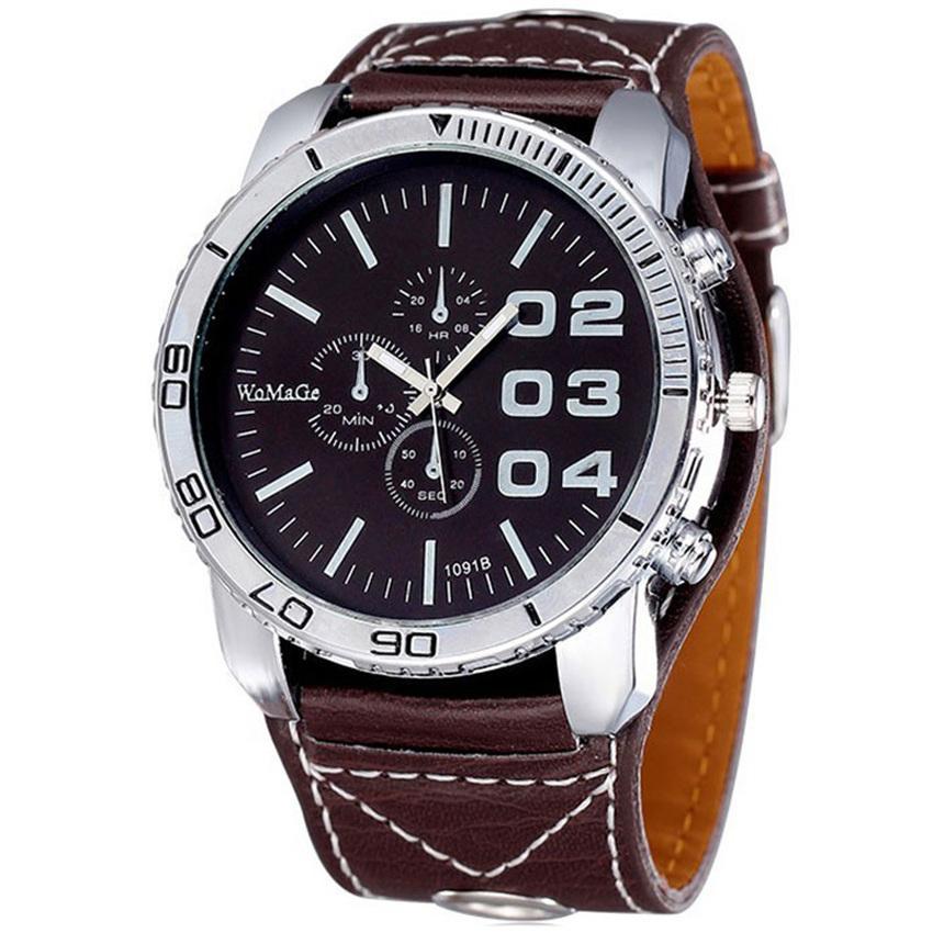 Womage Jam Tangan Pria Big Dial WMG Button Watch Strap Kulit - Coklat