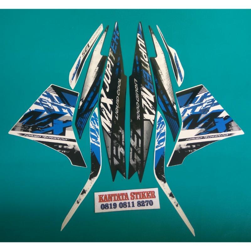 ... Stiker Striping Motor Jupiter mx 2014 Putih biru