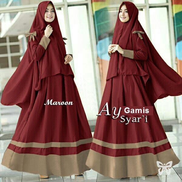 Flavia Store Gamis Syari Set 2 in 1 FS0561 - MERAH MARUN / Baju Muslim Wanita Syar'i / Gaun Muslimah / Maxi Dress Lengan Panjang / Hijab / Srayra