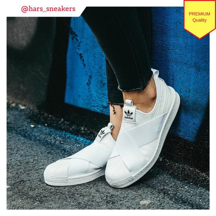 PROMO!!! Sepatu Adidas Superstar Slip On White   Premium Original