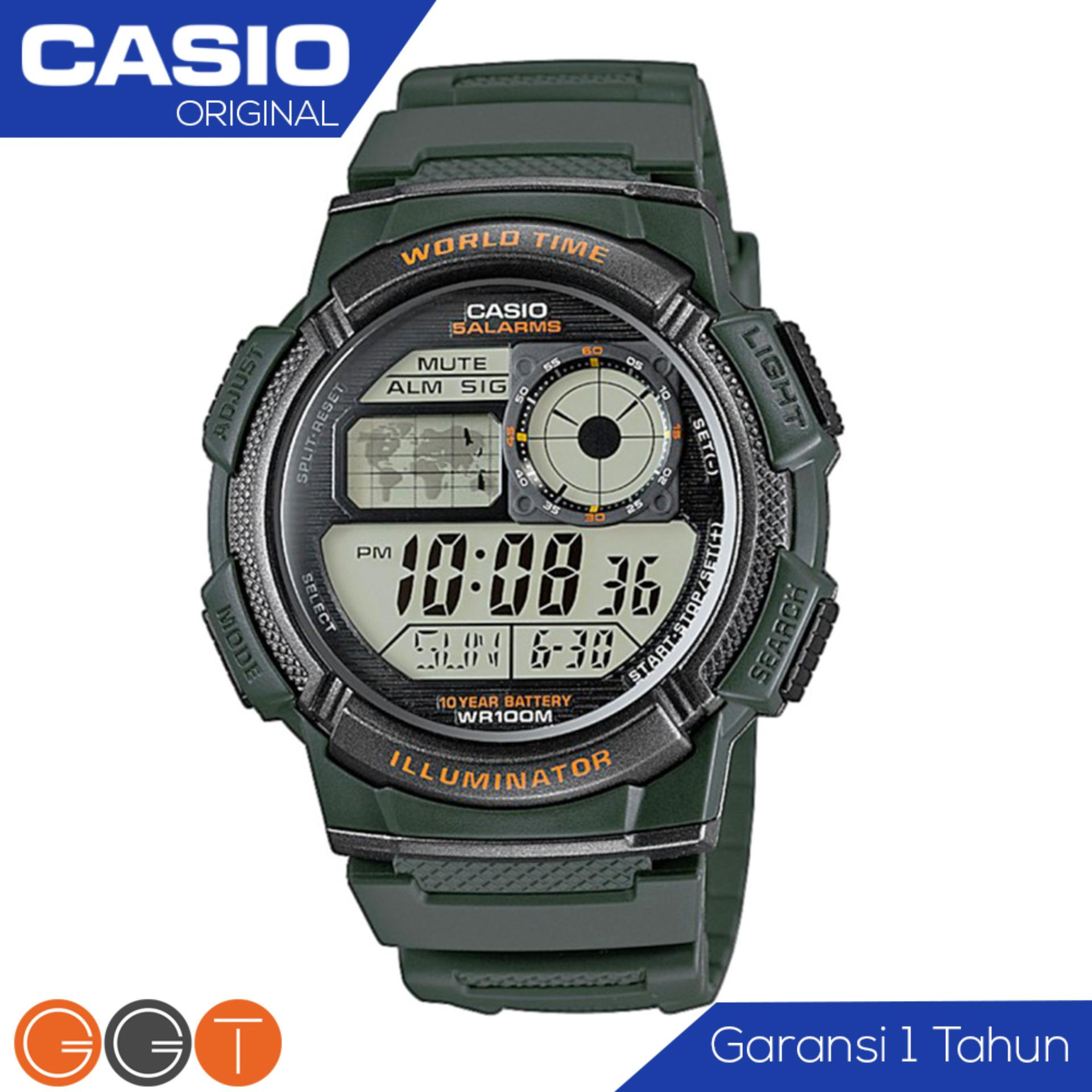 CASIO Army Illuminator AE-1000W-3AVDF - Jam Tangan Pria - Tali Karet - Digital Movement - Hijau