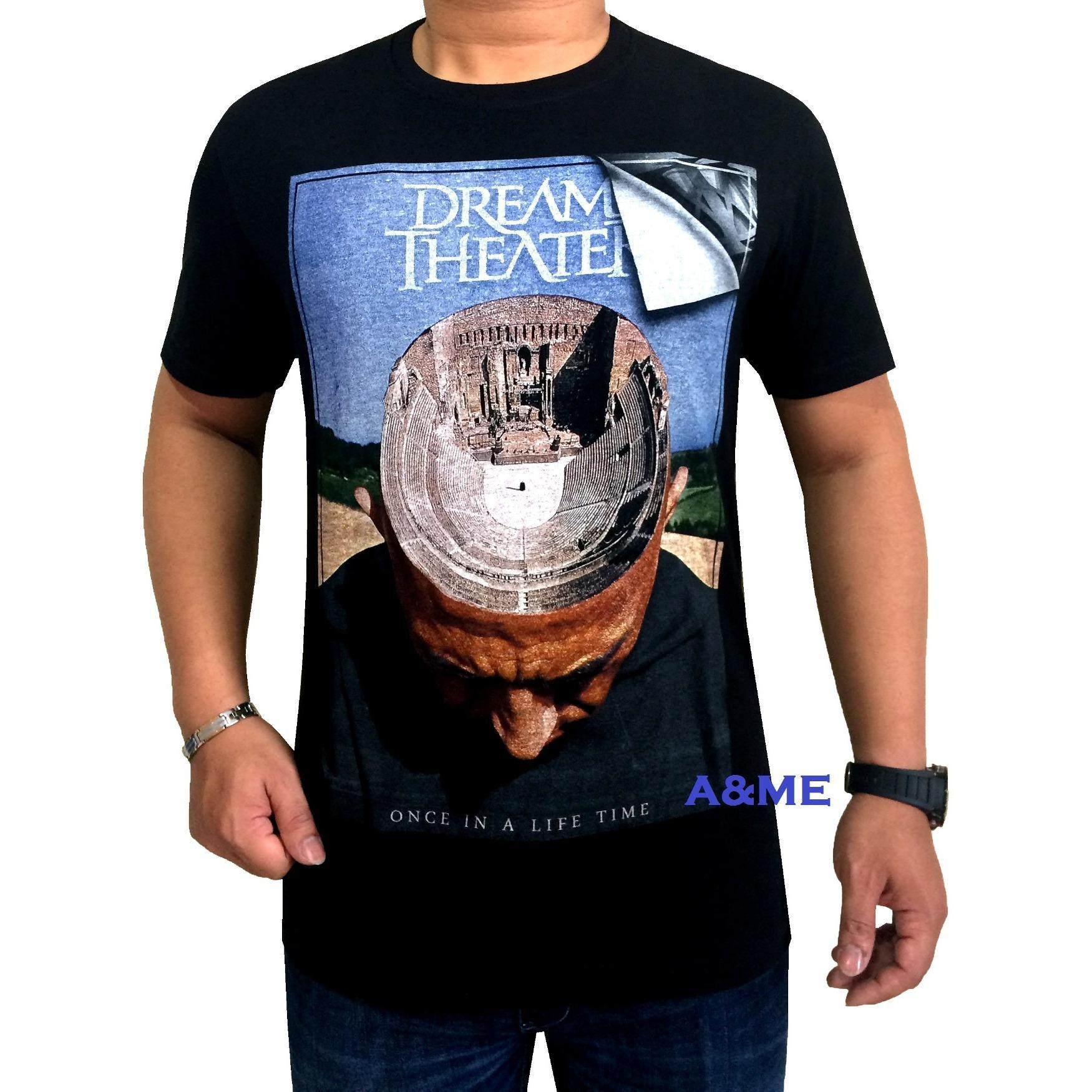 A&ME - Kaos Distro T-Shirt Distro Pria Fashion 100% Cotton Combed 30s Atasan Baju Pria Wanita Kaos Cowok Cewek T-Shirt 3D Terbaru Kekinian Animasi Seni Kata Gambar Sablonan Dream Theater Wajah Pakaian Bagus Moderen Modis Casual Keren Kaos Distro - Hitam