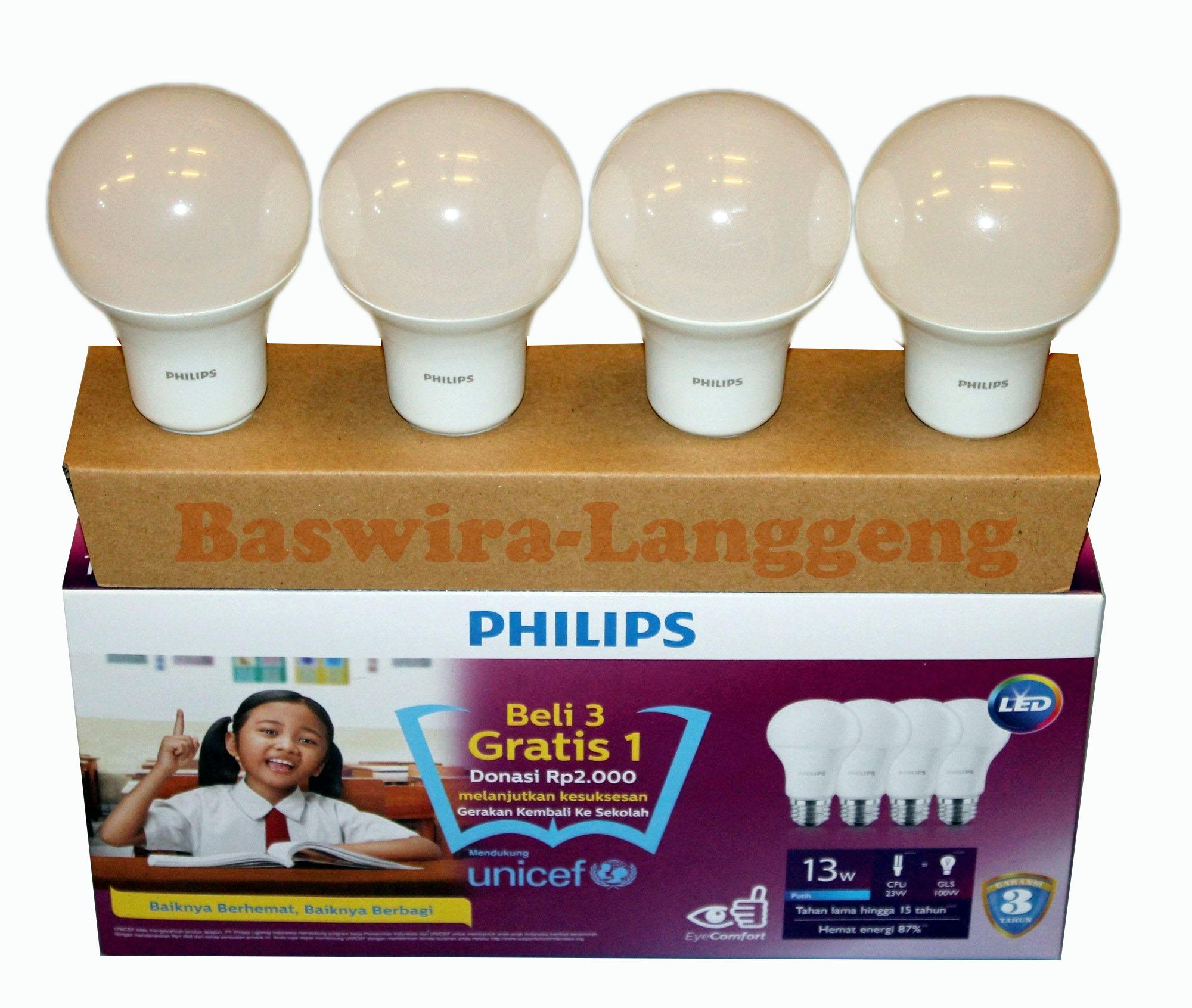 PHILIPS Lampu Led Bulb 13 Watt 13W UNICEF Paket Beli 3 Gratis 1 Putih