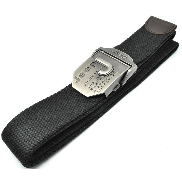 JEEP Ikat Pinggang Pria Canvas Buckle Belt - Black