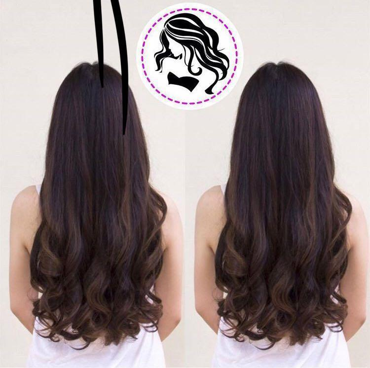 ... Rambut Palsu & Hair Extension. JS Hairclip Wave Curly Keriting Gelombang Big Layer 52cm Hair Clip High Quality - Dark Brown