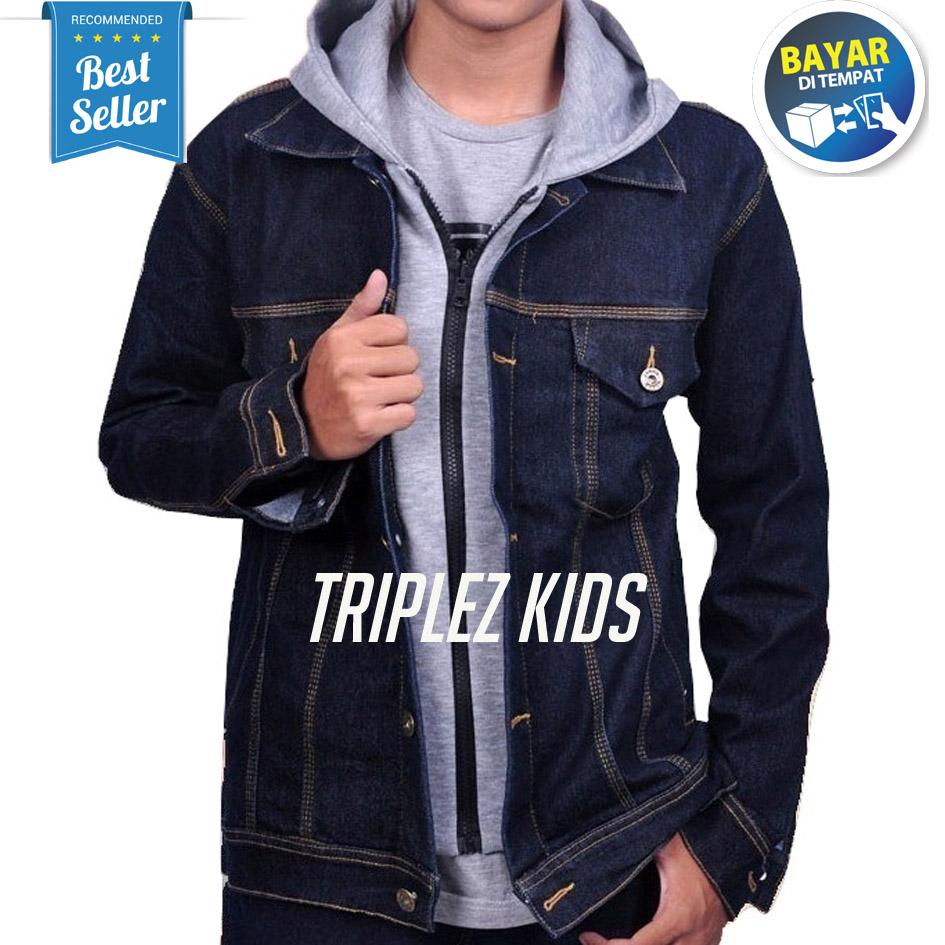 Zens Jaket Ariel Denim Hoodie Best Seller - Black Grey