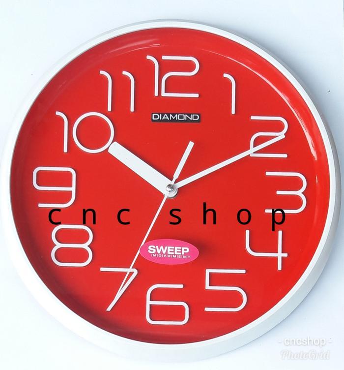 Jam Dinding angka timbul Sweep Movement Diamond 3035-1 @ jam dinding unik digital seiko