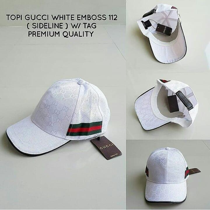 topi gucci white emboss 112 sideline W/TAG