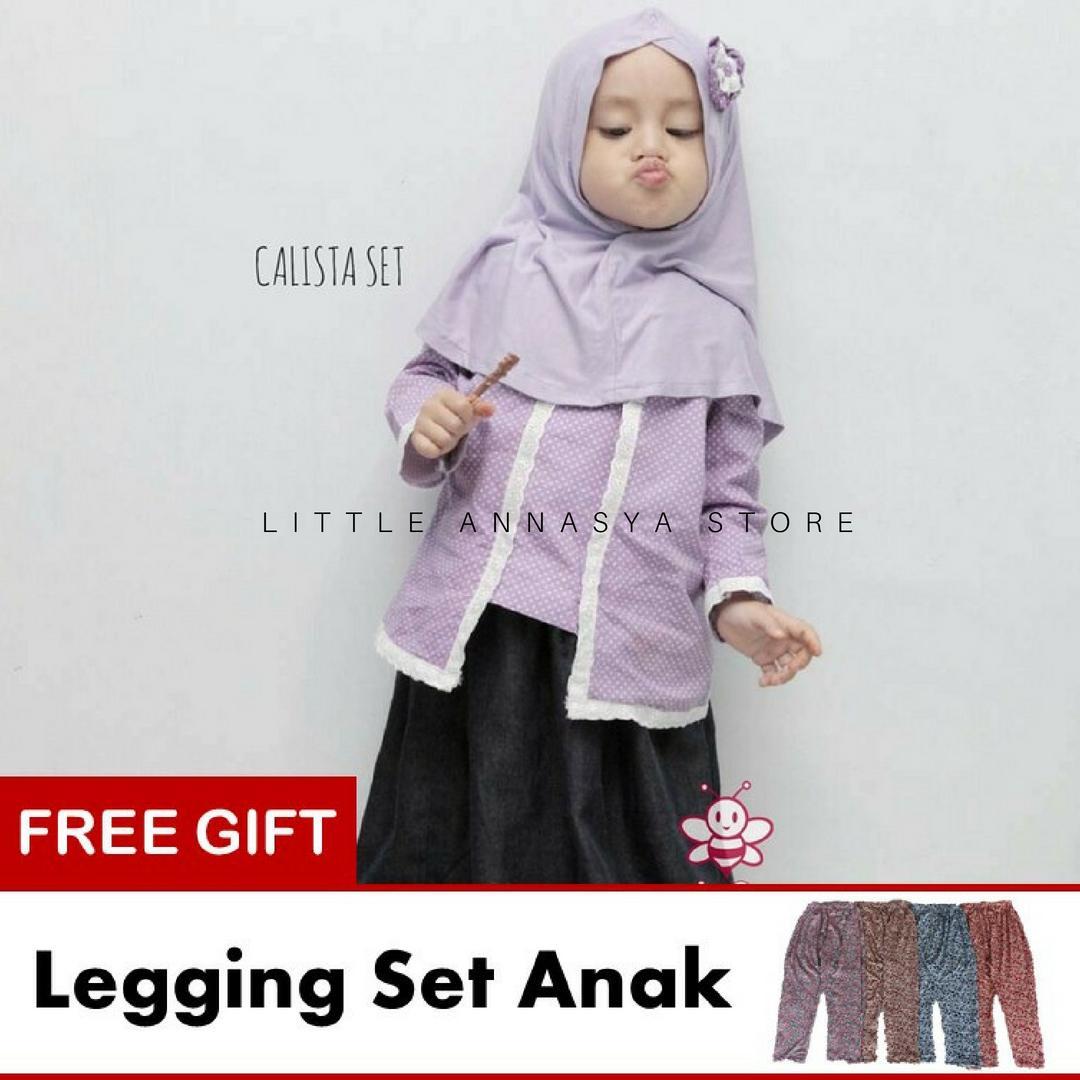 Baju Muslim Anak Balita / Baju Muslim Balita Perempuan / Busana Muslim Balita / Gamis Balita / Baju Muslim Balita / Baju Pesta Anak Muslim / Calista Set (1-2thn)