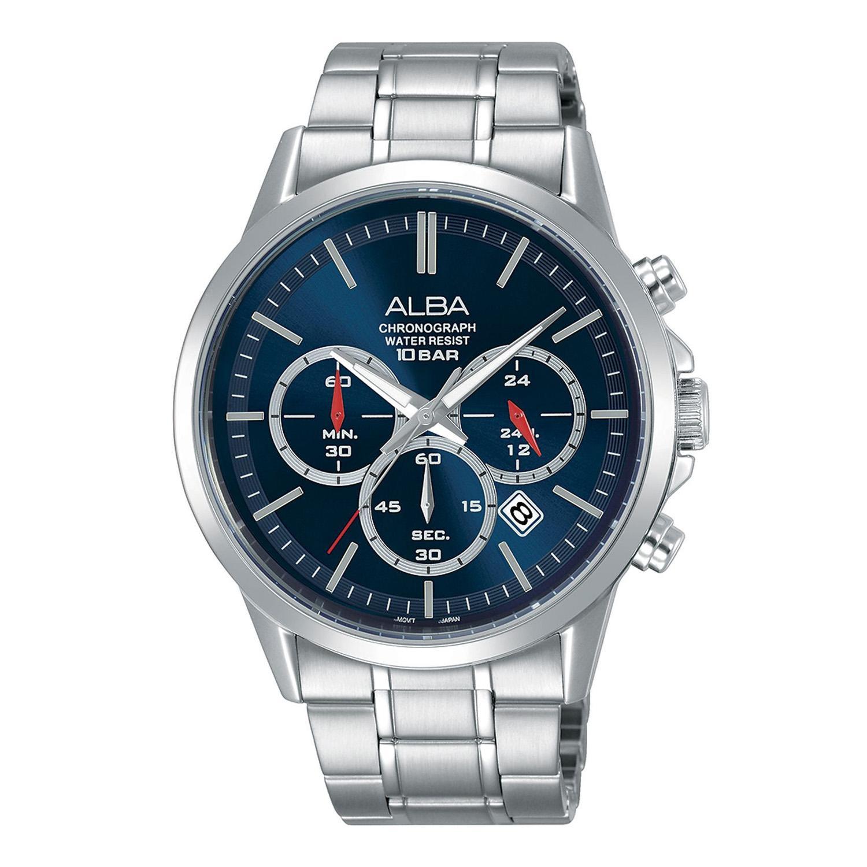 Alba - Jam Tangan Pria - Silver-Biru - Stainless Steel - AT3B91X1