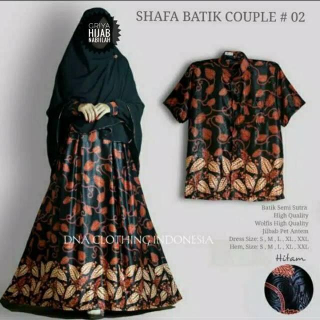 (TERBARU) Gamis Syari Batik Couple Shafa Batik Ori DNA (koko pendek xxl)