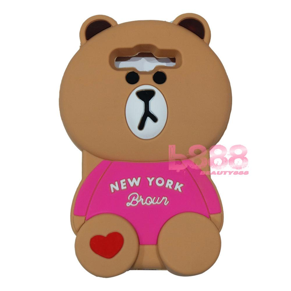 Beauty Bear Case 3D Samsung Galaxy Grand Prime G530 Silicone 3D Brown Bear Clothes Overall Design New York / Case Boneka Baju Beruang / Casing Samsung Grand Prime Boneka Unik / Casing Samsung G530 / Silikon Samsung Grand Prime - Brown Line Bear New York