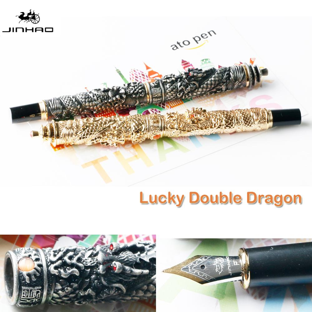 JinHao Double Dragon Jewelry Fountain Pen Vintage Tower 18KGP Medium Nib Luxury Collection Gift ink pens