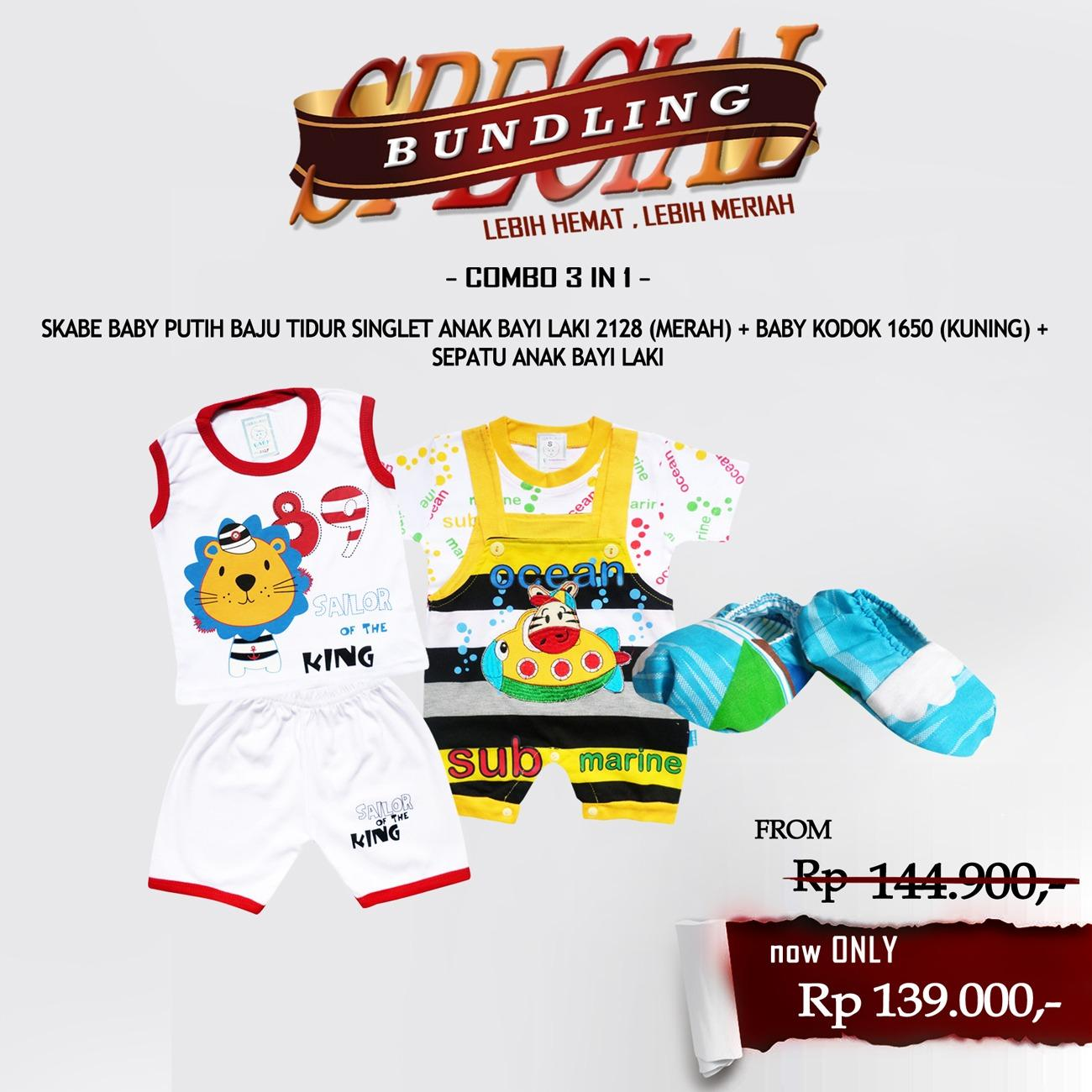 Paket Hemat Waka Set Pakaian Baju Anak Laki dengan Sepatu Anak Bayi Laki - Kode L