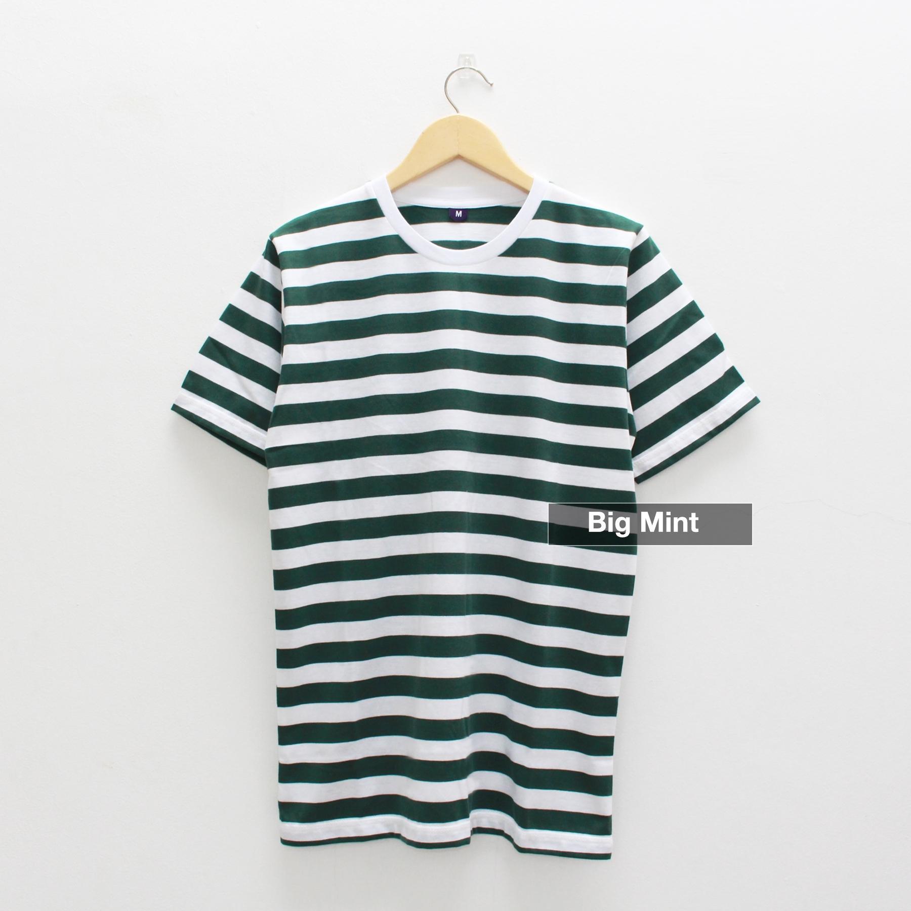 Kaos Belang Stripe Lengan Pendek Warna Big Mint