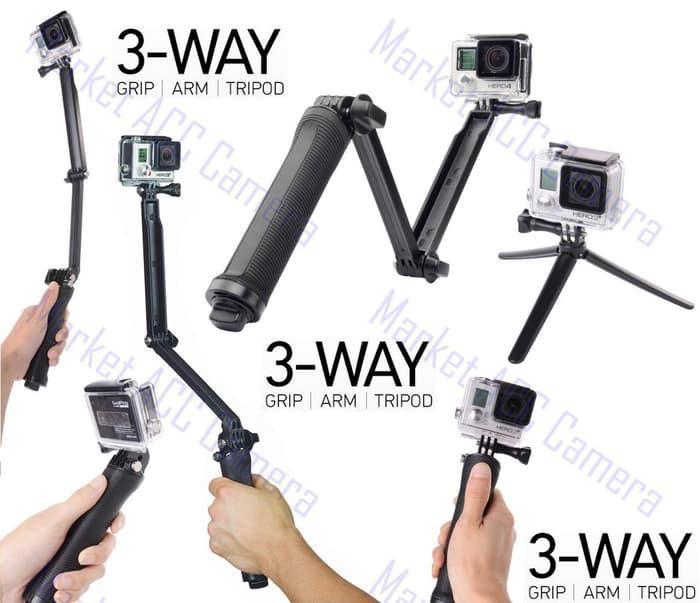 3 WAY GRIP|ARM|TRIPOD FOR GOPRO HERO, BPRO, SJCAM, XIAOMI-YI CAMERA TERLARIS