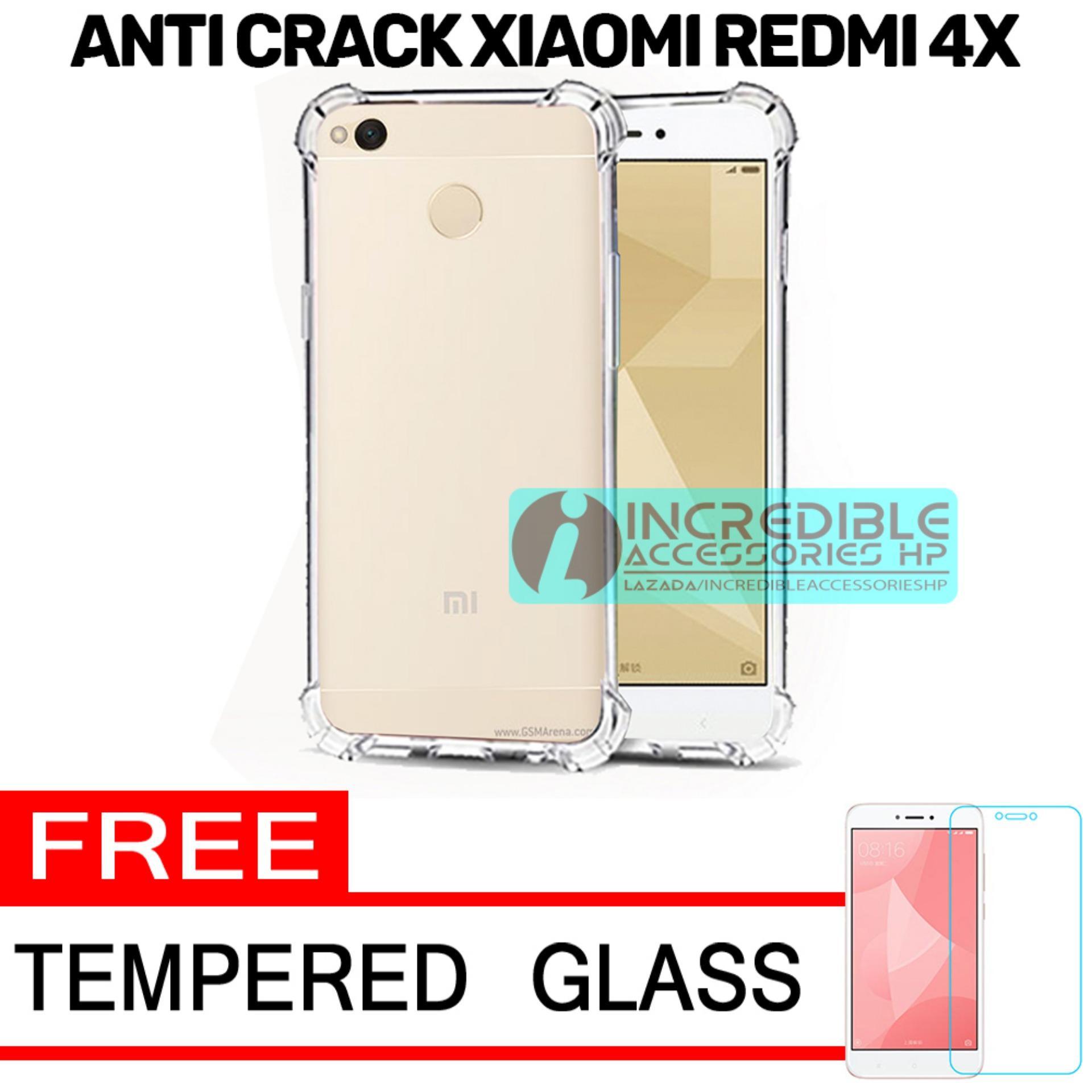Softcase Silicon Anti Shock / Anti Crack Elegant Softcase  for Xiaomi Redmi 4x - White Clear + Free Tempered Glass