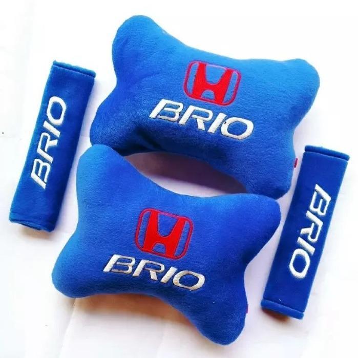 Bantal Mobil Honda Brio Biru - 2 in 1 (2 Bantal & 2 Cover Sabuk Pengaman)