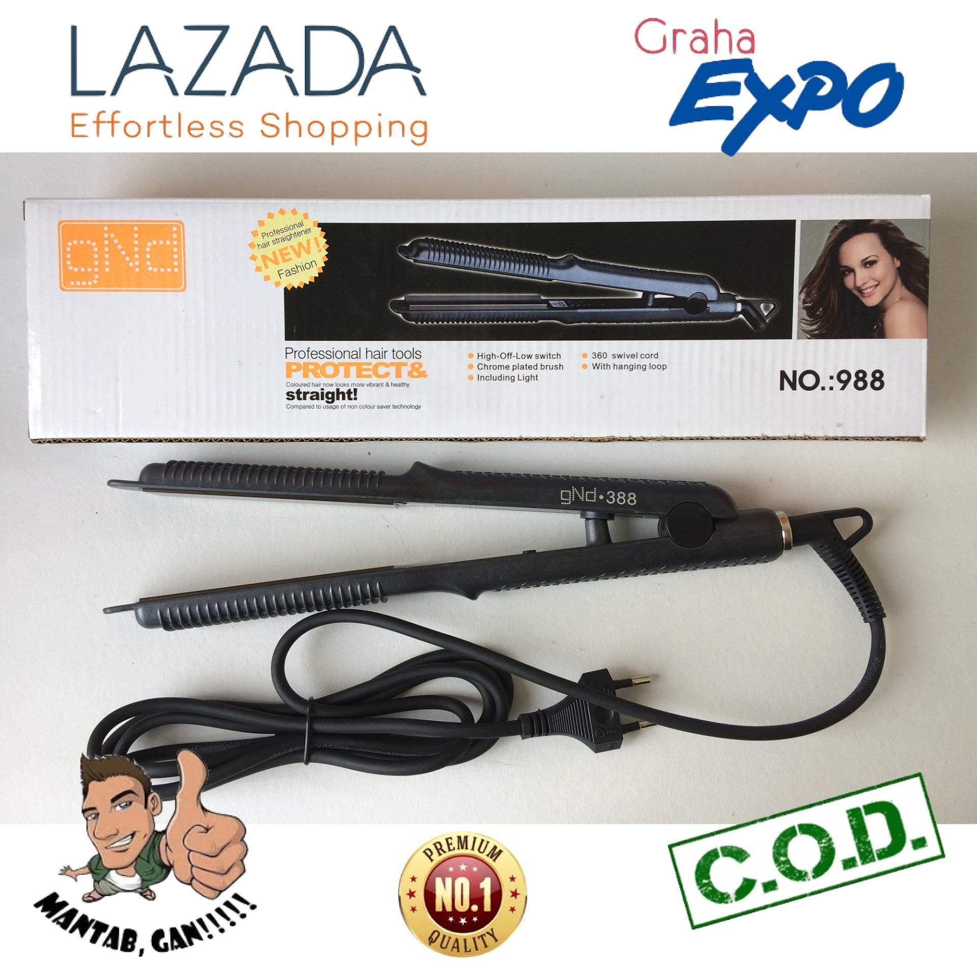 GND Catok 2in1 Rambut Lurus Ikal Keriting Hair Straightener & Curly Catokan - Hitam Laz COD Graha Expo