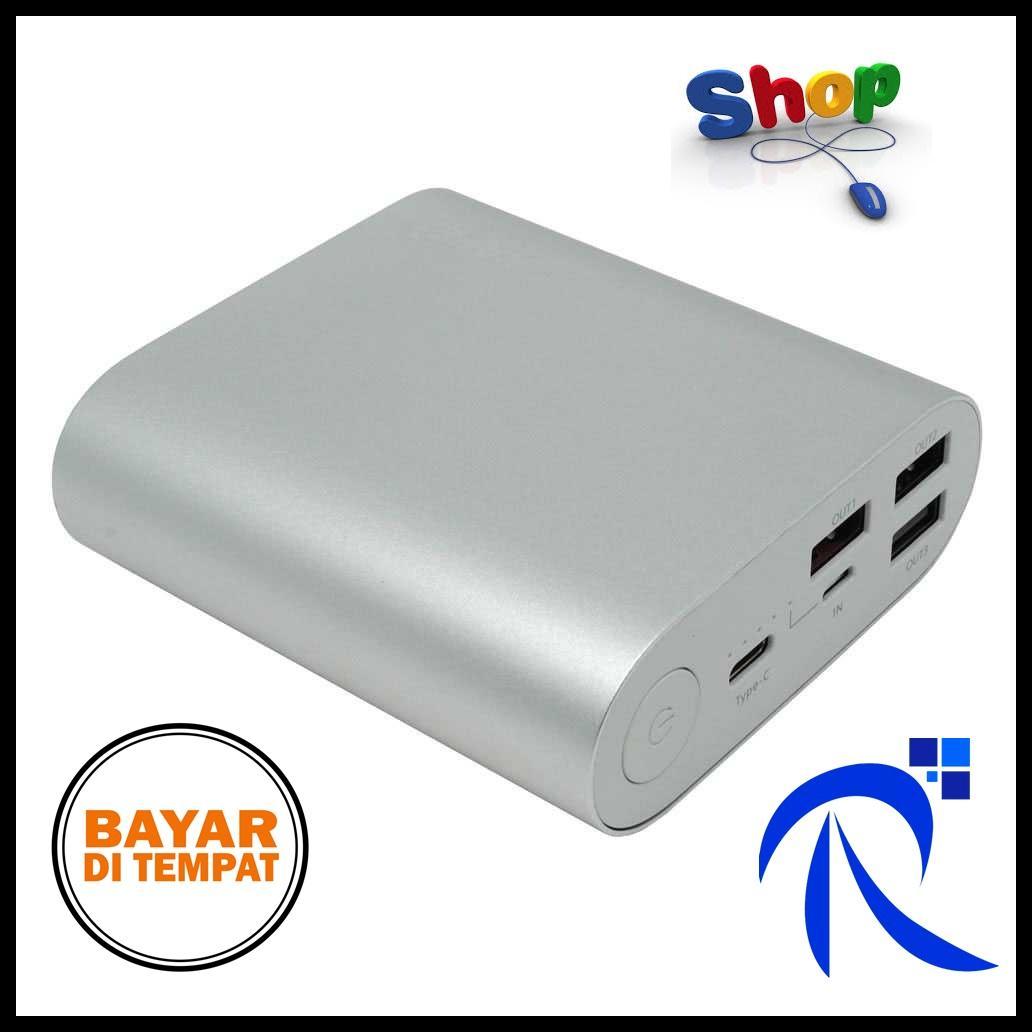 Hame H14D Power Bank QC 3.0 15000mAh - Silver / Perak Powerbank PB Pengisi Daya Baterai Battery Batre Smartphone Handphone Tablet Ringan Simple Unik Berkualitas ORIGINAL FREE ONGKIR