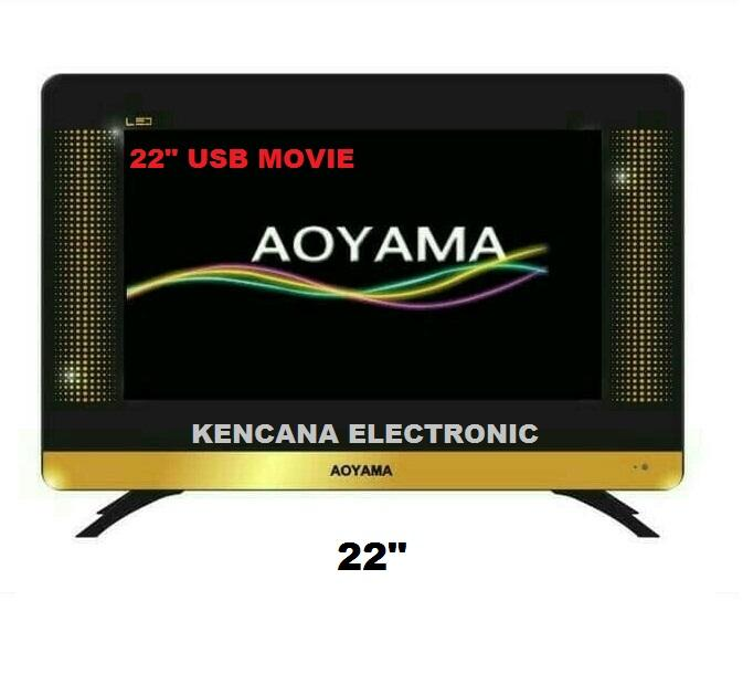 AOYAMA-22 INCH SLIM LED TV- USB MOVIE - Full HD Double Dan Panel Tempered Glass- FREE ONGKIR JABODETABEK