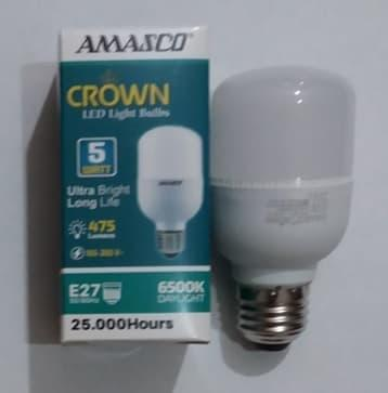 TERLARIS Lampu LED Bulb Jumbo Tabung 5 W Super Terang Putih AMASCO CROWN 5W