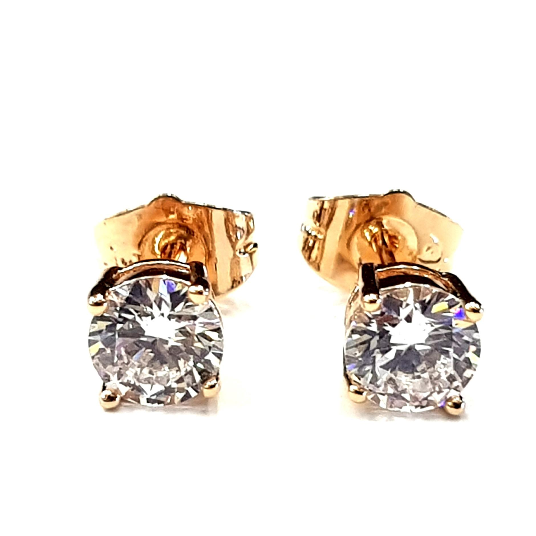Anting Tusuk Simple Stud Solitaire Diamond 5 MM - Gold