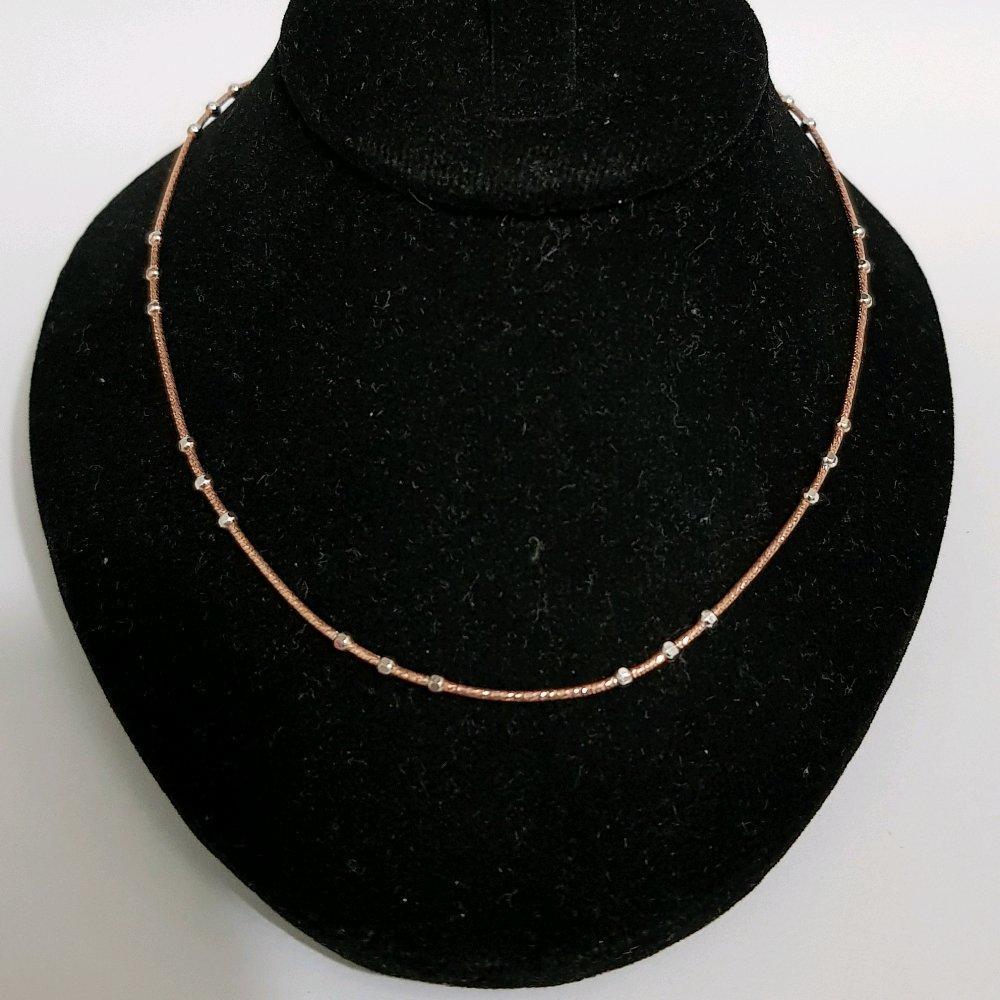 Populer Kalung Emas Asli Kadar 750 Kalung Jedar Rosegold Kombinasi Perhiasan Emas Wanita Gold Necklace